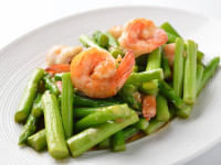 thai food , Asparagus stir fried with prawns